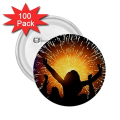 Celebration Night Sky With Fireworks In Various Colors 2 25  Buttons (100 Pack)