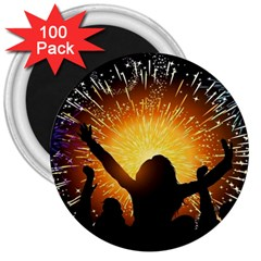 Celebration Night Sky With Fireworks In Various Colors 3  Magnets (100 Pack) by Sapixe