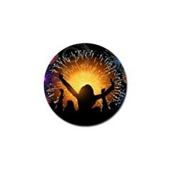 Celebration Night Sky With Fireworks In Various Colors Golf Ball Marker (4 Pack)