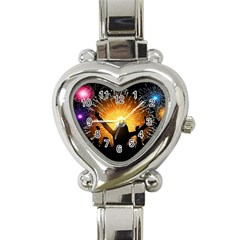 Celebration Night Sky With Fireworks In Various Colors Heart Italian Charm Watch by Sapixe