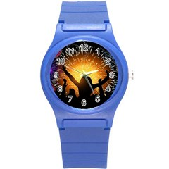 Celebration Night Sky With Fireworks In Various Colors Round Plastic Sport Watch (s) by Sapixe