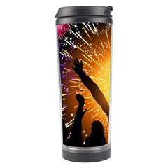 Celebration Night Sky With Fireworks In Various Colors Travel Tumbler by Sapixe