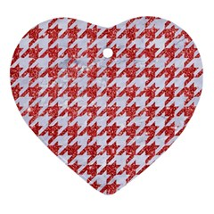 Houndstooth1 White Marble & Red Glitter Ornament (heart) by trendistuff