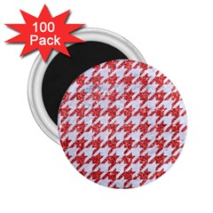 Houndstooth1 White Marble & Red Glitter 2 25  Magnets (100 Pack)  by trendistuff