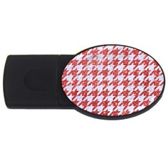 Houndstooth1 White Marble & Red Glitter Usb Flash Drive Oval (2 Gb) by trendistuff