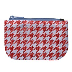 Houndstooth1 White Marble & Red Glitter Large Coin Purse by trendistuff