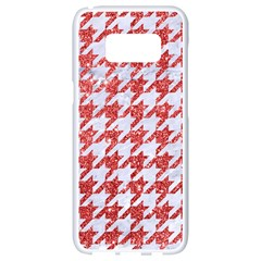 Houndstooth1 White Marble & Red Glitter Samsung Galaxy S8 White Seamless Case by trendistuff