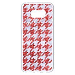 Houndstooth1 White Marble & Red Glitter Samsung Galaxy S8 Plus White Seamless Case by trendistuff