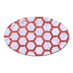 Hexagon2 White Marble & Red Glitter (r) Oval Magnet
