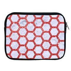 Hexagon2 White Marble & Red Glitter (r) Apple Ipad 2/3/4 Zipper Cases by trendistuff