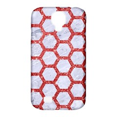 Hexagon2 White Marble & Red Glitter (r) Samsung Galaxy S4 Classic Hardshell Case (pc+silicone) by trendistuff