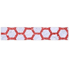 Hexagon2 White Marble & Red Glitter (r) Large Flano Scarf