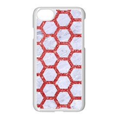 Hexagon2 White Marble & Red Glitter (r) Apple Iphone 8 Seamless Case (white)