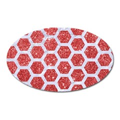 Hexagon2 White Marble & Red Glitter Oval Magnet by trendistuff
