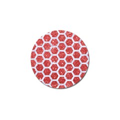 Hexagon2 White Marble & Red Glitter Golf Ball Marker by trendistuff