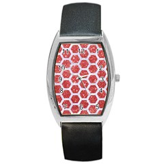 Hexagon2 White Marble & Red Glitter Barrel Style Metal Watch by trendistuff