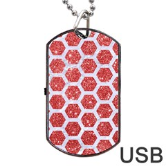Hexagon2 White Marble & Red Glitter Dog Tag Usb Flash (two Sides) by trendistuff