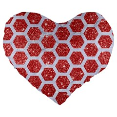 Hexagon2 White Marble & Red Glitter Large 19  Premium Heart Shape Cushions by trendistuff