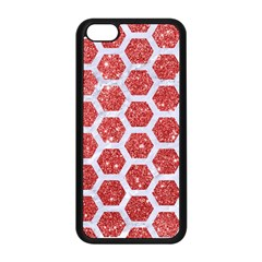 Hexagon2 White Marble & Red Glitter Apple Iphone 5c Seamless Case (black) by trendistuff