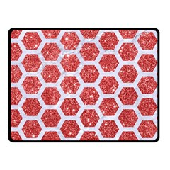 Hexagon2 White Marble & Red Glitter Double Sided Fleece Blanket (small)  by trendistuff