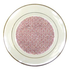 Hexagon1 White Marble & Red Glitter (r) Porcelain Plates by trendistuff
