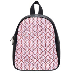 Hexagon1 White Marble & Red Glitter (r) School Bag (small) by trendistuff