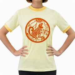 Chinese Zodiac Dog Women s Fitted Ringer T Shirts