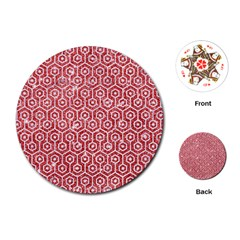 Hexagon1 White Marble & Red Glitter Playing Cards (round)  by trendistuff