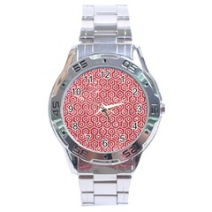 Hexagon1 White Marble & Red Glitter Stainless Steel Analogue Watch by trendistuff