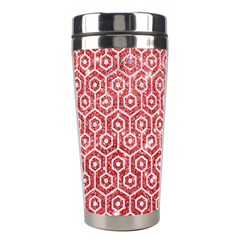 Hexagon1 White Marble & Red Glitter Stainless Steel Travel Tumblers by trendistuff