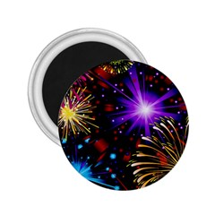 Celebration Fireworks In Red Blue Yellow And Green Color 2 25  Magnets by Sapixe