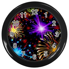 Celebration Fireworks In Red Blue Yellow And Green Color Wall Clocks (black)