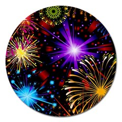 Celebration Fireworks In Red Blue Yellow And Green Color Magnet 5  (round)