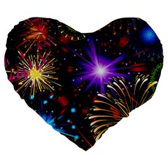 Celebration Fireworks In Red Blue Yellow And Green Color Large 19  Premium Flano Heart Shape Cushions