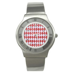 Diamond1 White Marble & Red Glitter Stainless Steel Watch by trendistuff