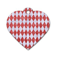 Diamond1 White Marble & Red Glitter Dog Tag Heart (one Side) by trendistuff