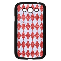 Diamond1 White Marble & Red Glitter Samsung Galaxy Grand Duos I9082 Case (black) by trendistuff
