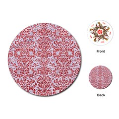 Damask2 White Marble & Red Glitter (r) Playing Cards (round)  by trendistuff