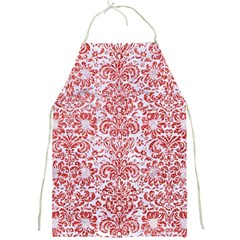 Damask2 White Marble & Red Glitter (r) Full Print Aprons by trendistuff