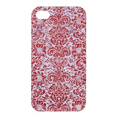Damask2 White Marble & Red Glitter (r) Apple Iphone 4/4s Hardshell Case by trendistuff