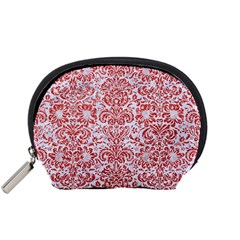 Damask2 White Marble & Red Glitter (r) Accessory Pouches (small)  by trendistuff