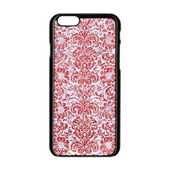 Damask2 White Marble & Red Glitter (r) Apple Iphone 6/6s Black Enamel Case by trendistuff