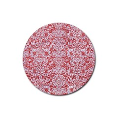 Damask2 White Marble & Red Glitter Rubber Coaster (round)  by trendistuff