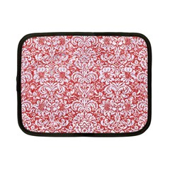 Damask2 White Marble & Red Glitter Netbook Case (small)  by trendistuff
