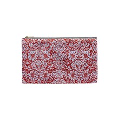 Damask2 White Marble & Red Glitter Cosmetic Bag (small)  by trendistuff