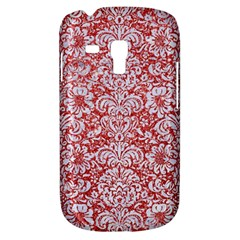 Damask2 White Marble & Red Glitter Galaxy S3 Mini