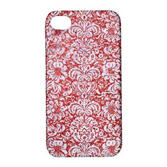 Damask2 White Marble & Red Glitter Apple Iphone 4/4s Hardshell Case With Stand by trendistuff