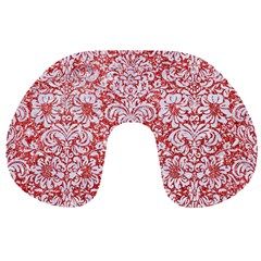 Damask2 White Marble & Red Glitter Travel Neck Pillows by trendistuff
