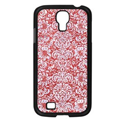 Damask2 White Marble & Red Glitter Samsung Galaxy S4 I9500/ I9505 Case (black) by trendistuff
