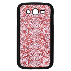 Damask2 White Marble & Red Glitter Samsung Galaxy Grand Duos I9082 Case (black) by trendistuff